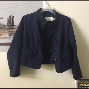J Crew classic Chino navy cotton crop jacket top.